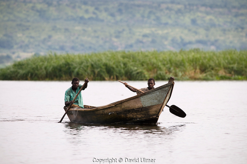 Local fisherman on Lake Albert, Uganda