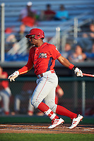 Williamsport Crosscutters first baseman Luis Encarnacion (30) at bat during a game against the Auburn Doubledays on June 25, 2016 at Falcon Park in Auburn, New York.  Auburn defeated Williamsport 5-4.  (Mike Janes/Four Seam Images)