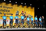 Movistar Team on stage at the Team Presentations for the 105th Tour de France 2018 held on Napoleon Square in La Roche-sur-Yon, France. 5th July 2018. <br /> Picture: ASO/Bruno Bade | Cyclefile<br /> All photos usage must carry mandatory copyright credit (&copy; Cyclefile | ASO/Bruno Bade)