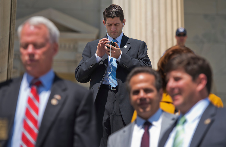 UNITED STATES - MAY 18:  Rep. Paul Ryan, R-Wisc., descends the House steps after a vote in the Capitol. (Photo By Tom Williams/CQ Roll Call)