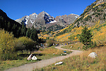 Hiking trail leading to Maroon Lake and the Maroon Bells, near Aspen, Colorado John offers fall foliage photo tours throughout Colorado. .  John leads hiking and photo tours throughout Colorado.