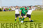 Action from Island's Shane Loughlin and Feints Darrren Lynch and Sean Foley in Greyhound Bar KO Cup Quarter Final Replay Fenit Samphires  V  Castleisland Afc at Fenit on Sunday