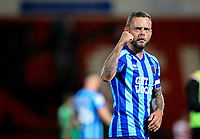 Blackpool's Jay Spearing celebrates with the fans after the match<br /> <br /> Photographer Alex Dodd/CameraSport<br /> <br /> The EFL Sky Bet League One - Doncaster Rovers v Blackpool - Tuesday September 17th 2019 - Keepmoat Stadium - Doncaster<br /> <br /> World Copyright © 2019 CameraSport. All rights reserved. 43 Linden Ave. Countesthorpe. Leicester. England. LE8 5PG - Tel: +44 (0) 116 277 4147 - admin@camerasport.com - www.camerasport.com