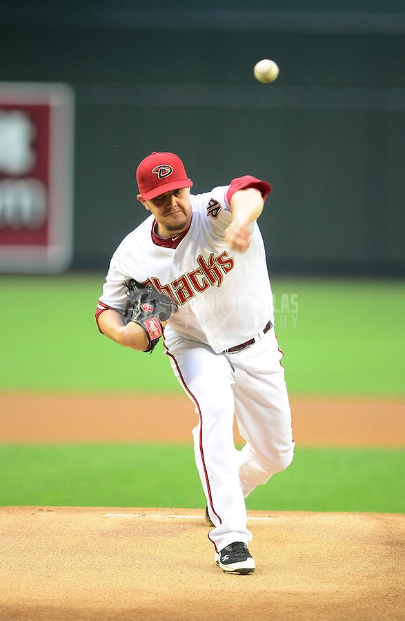 Apr. 23, 2012; Phoenix, AZ, USA; Arizona Diamondbacks pitcher Wade Miley throws in the first inning against the Philadelphia Phillies at Chase Field. Mandatory Credit: Mark J. Rebilas-