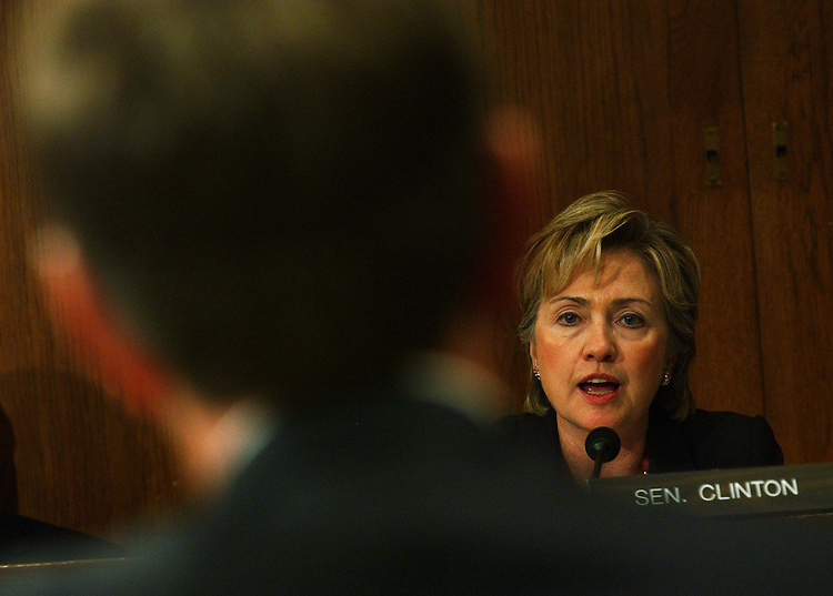 9/23/03.LEAVITT HEARING--Sen. Hillary Rodham Clinton, D-N.Y.,  questions Gov. Michael Leavitt, R-Utah, during his hearing before Senate Environment and Public Works on his nomination to be administrator of the Environmental Protection Agency..CONGRESSIONAL QUARTERLY PHOTO BY SCOTT J. FERRELL