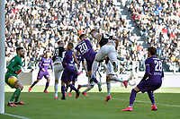 2nd February 2020; Allianz Stadium, Turin, Italy; Serie A Football, Juventus versus Fiorentina; Matthijs de Ligt of Juventus wins a header and scores the goal for 3-0 in the 90th minute