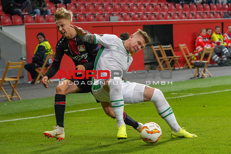 29.11.2018, BayArena, Leverkusen, Europaleque, Vorrunde, GER, UEFA EL, Bayer 04 Leverkusen (GER) vs. Ludogorez Rasgrad (BUL),<br />  <br /> DFL regulations prohibit any use of photographs as image sequences and/or quasi-video<br /> <br /> im Bild / picture shows: <br /> Sam Schreck (Leverkusen #30), im Zweikampf gegen  Junior Brandão (Ludogorez Rasgrad #9), <br /> <br /> Foto © nordphoto / Meuter<br /> <br /> <br /> <br /> Foto © nordphoto / Meuter