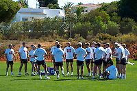 Photo: Richard Lane..England Rugby Training Camp, Portugal. 04/07/2007. .England reugby team prepare for training, wearing a 'Find Madeleine' tie shirt in support of Madeleine McCann warm up.