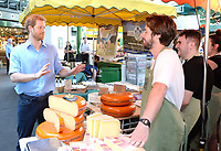 15 June 2017 - Prince Harry meets stall holders during a visit to Borough Market in London which has opened yesterday for the first time since the London Bridge terrorist attack. Photo Credit: ALPR/AdMedia