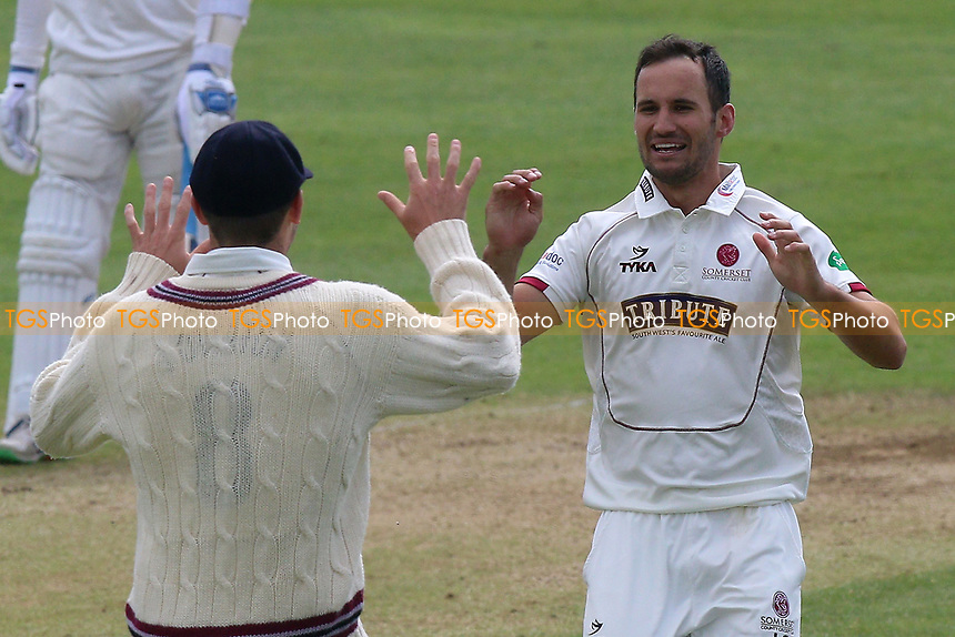 Lewis Gregory of Somerset celebrates taking the wicket of Ryan ten Doeschate during Somerset CCC vs Essex CCC, Specsavers County Championship Division 1 Cricket at The Cooper Associates County Ground on 15th April 2017