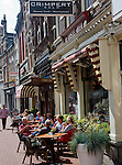 People sitting outdoors cafe tables Dordrecht, Netherlands