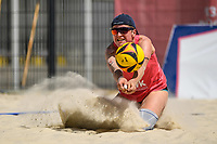 27th June 2020, Dusseldorf, Germany; The German Beach Volleyball League;  Melanie Gernert digs low to her oartner