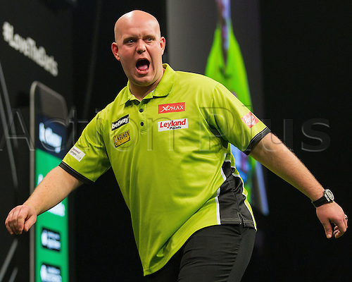 31.03.2016. The Motorpoint Arena, Cardiff.  Betway PDC Premier League Darts Judgement Night. Michael Van Gerwen celebrates after hitting a maximum