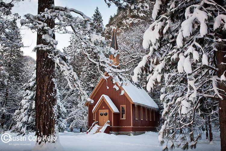 Yosemite Chapel in Yosemite Valley, Yosemite National Park, CA