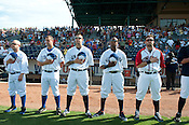 National Anthem plays during Negro League night at Durham Bulls Stadium on Sunday August 5th 2012.