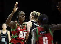 31.10.2013 Malawi's Joanna Kachilika in action during the Silver Ferns V Malawi during the New World Netball Series played at the Claudelands Arena in Hamilton. Mandatory Photo Credit ©Michael Bradley.
