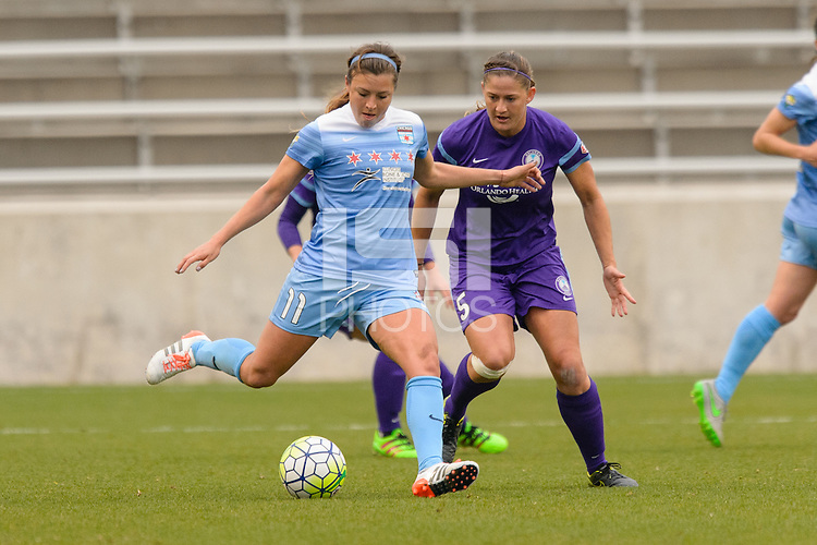Bridgeview, IL, USA - Sunday, May 1, 2016: Chicago Red Stars midfielder Sofia Huerta (11) and Orlando Pride defender Laura Alleway (5) during a regular season National Women's Soccer League match between the Chicago Red Stars and the Orlando Pride at Toyota Park. Chicago won 1-0.