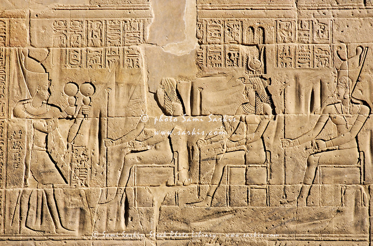 Bas-relief at the ancient temple for Isis on the island of Philae on the Nile river, Egypt.