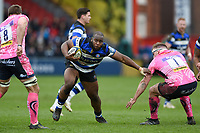Beno Obano of Bath Rugby takes on the Exeter Chiefs defence. Anglo-Welsh Cup Final, between Bath Rugby and Exeter Chiefs on March 30, 2018 at Kingsholm Stadium in Gloucester, England. Photo by: Patrick Khachfe / Onside Images