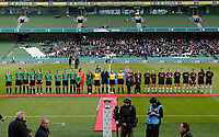 3rd November 2019; Aviva Stadium, Dublin, Leinster, Ireland; FAI Cup Womens Final Football, Peamount United versus Wexford Youth Womens Football Club; The two teams line up for the playing of the national anthem  - Editorial Use