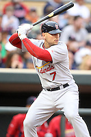 April 2, 2010: Matt Holliday of the St. Louis Cardinals in the first professional baseball game played at the Minnesota Twins new home, Target Field. Photo by: Chris Proctor/Four Seam Images
