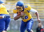 BROOKINGS, SD - APRIL 26:  Bridgeport Tusler #28 from South Dakota State's offense looks for running room during their spring game Saturday at Coughlin Alumni Stadium in Brookings. (Photo by Dave Eggen/Inertia)