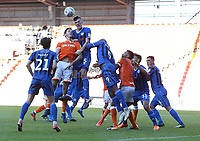 Rochdale's Ryan Delaney defends against Blackpool's Ben Heneghan<br /> <br /> Photographer Stephen White/CameraSport<br /> <br /> The EFL Sky Bet League One - Blackpool v Rochdale - Saturday 6th October 2018 - Bloomfield Road - Blackpool<br /> <br /> World Copyright © 2018 CameraSport. All rights reserved. 43 Linden Ave. Countesthorpe. Leicester. England. LE8 5PG - Tel: +44 (0) 116 277 4147 - admin@camerasport.com - www.camerasport.com