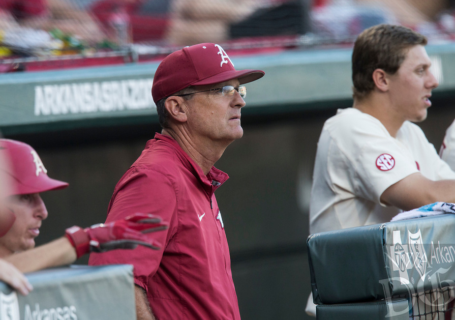 NWA Democrat-Gazette/BEN GOFF @NWABENGOFF<br /> Dave Van Horn, Arkansas head coach, watches Saturday, June 9, 2018, during game one of the NCAA Super Regional against South Carolina at Baum Stadium in Fayetteville.