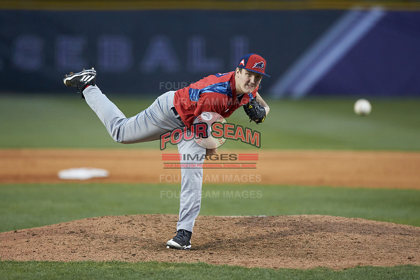 NJIT Highlanders starting pitcher Sean Lubreski (17) delivers a pitch to the plate against the High Point Panthers at Williard Stadium on February 18, 2017 in High Point, North Carolina. The Highlanders defeated the Panthers 4-2 in game two of a double-header. (Brian Westerholt/Four Seam Images)