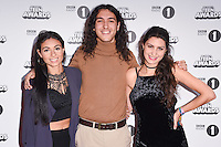 Catheryne, Louis and Alex Michaels<br /> at the Radio 1 Teen Awards 2016, Wembley Arena, London.<br /> <br /> <br /> ©Ash Knotek  D3188  22/10/2016