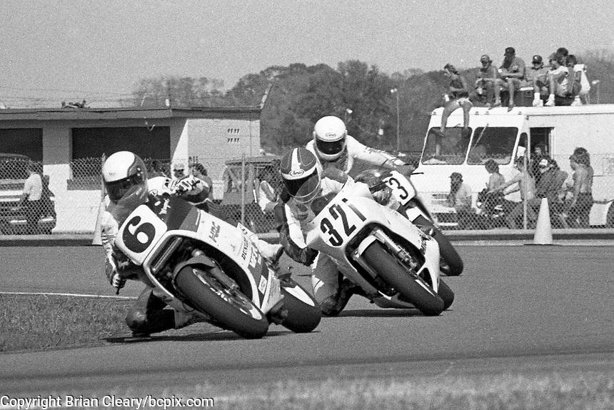 Wayne Rainey (#6 Honda), James Pennington (#321 Suzuki) Daytona 200, Daytona International Speedway, March 8, 1987.  (Photo by Brian Cleary/bcpix.com)