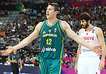 07.09.2014. Barcelona, Spain. 2014 FIBA Basketball World Cup, round of 16. Picture show A. Baynes in action during game between Turkey   v Australia at Palau St. Jordi