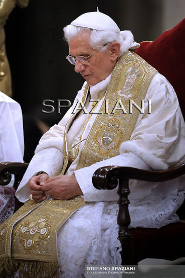 Pope Benedict XVI celebrates a rosary prayer at Saint Mary Major Basilica in Rome...May 26, 2011 ..
