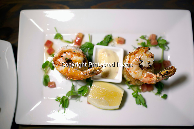 CAPE TOWN, SOUTH AFRICA - MARCH 22: A prawn dish at bizerca bistro on March 22, 2012 in Cape Town, South Africa (Photo by Per-Anders Pettersson For Le Monde)