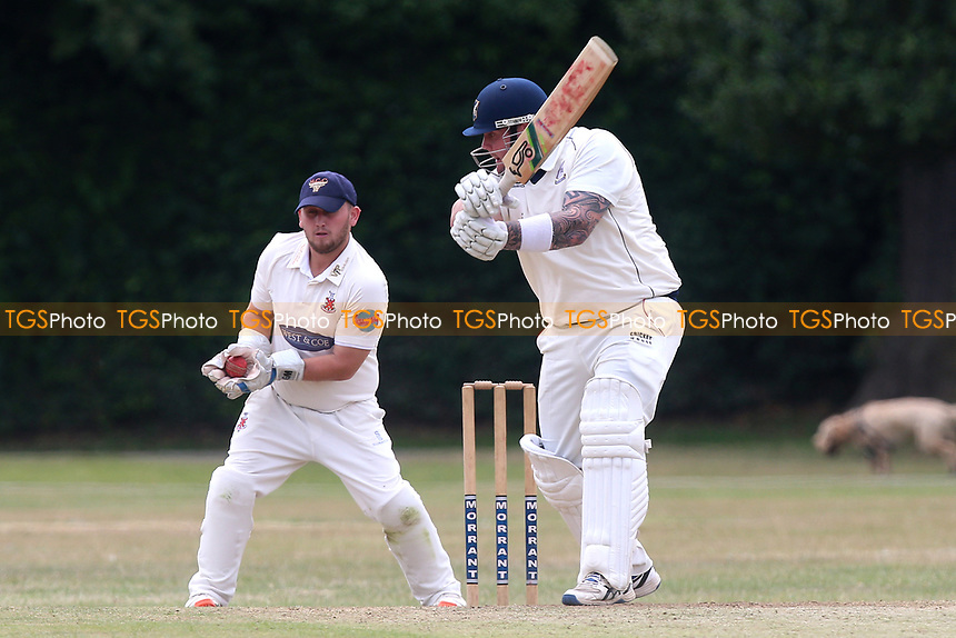 A Ison of Upminster is caught behind by M Bones  during Upminster CC vs Hornchurch CC, Shepherd Neame Essex League Cricket at Upminster Park on 8th July 2017