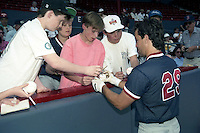 Boston Red Sox Danny Heep (29) signs autographs during spring training circa 1990 at Chain of Lakes Park in Winter Haven, Florida.  (MJA/Four Seam Images)