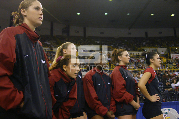 18 December 2004: Stanford 's Michelle Mellard, Jennifer Wilson, Kirsten Hornbeak, Njideka Nnamani, Katie Goldhahn, and Leahi Hall during Stanford's  30-23, 30-27, 30-21 victory over Minnesota in the 2004 NCAA Women's Volleyball National Championships in Long Beach, CA. Stanford won their sixth women's volleyball title in school history.<br />