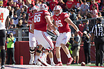 Wisconsin Badgers tight end Zander Neuville (85) celebrates a touchdown with teammates during an NCAA Big Ten Conference football game against the Maryland Terrapins Saturday, October 21, 2017, in Madison, Wis. The Badgers won 38-13. (Photo by David Stluka)