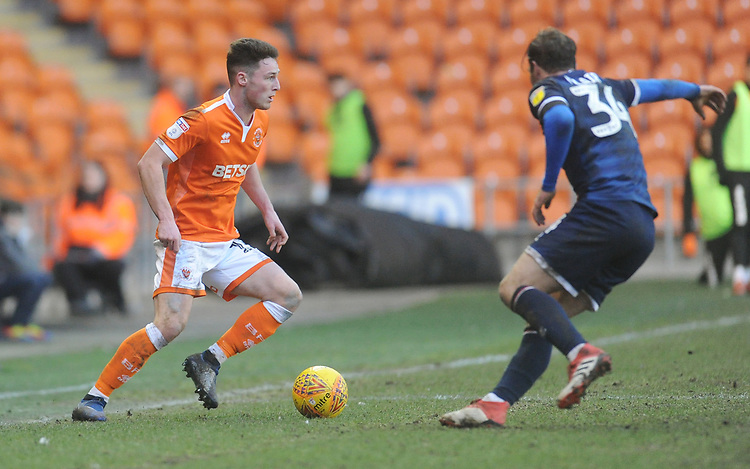 Blackpool's Jordan Thompson under pressure from Walsall's Scott Laird<br /> <br /> Photographer Kevin Barnes/CameraSport<br /> <br /> The EFL Sky Bet League One - Blackpool v Walsall - Saturday 9th February 2019 - Bloomfield Road - Blackpool<br /> <br /> World Copyright © 2019 CameraSport. All rights reserved. 43 Linden Ave. Countesthorpe. Leicester. England. LE8 5PG - Tel: +44 (0) 116 277 4147 - admin@camerasport.com - www.camerasport.com
