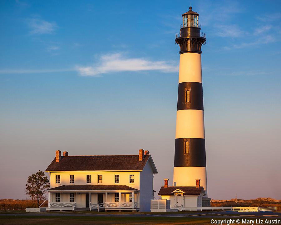 Cape Hatteras National Seashore, North Carolina: Evening light on Bodie Island Lighthouse (1872) on North Carolina's Outer Banks