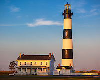 Cape Hatteras National Seashore, North Carolina: Evening light on Bodie Island Lighthouse (1872) on North Carolina's Outer Banks