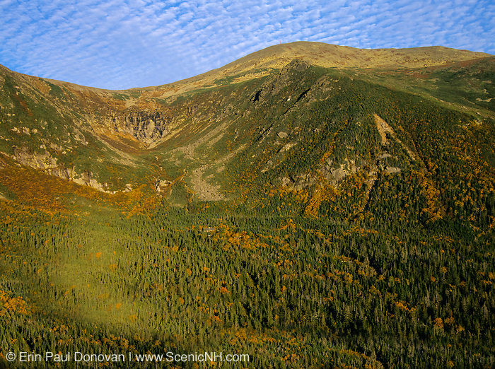 Tuckerman Ravine from Boott Spur Trail in Sargent's Purchase of the White Mountains, New Hampshire. The summit of Mount Washington at the top. Tuckerman Ravine is named for Professor Edward Tuckerman, a botanist and early explorer of the White Mountains.