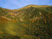 Tuckerman Ravine from Boott Spur Trail in Sargent's Purchase of the White Mountains, New Hampshire. The summit of Mount Washington at the top.