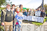 MAST MEANS DEATH: PJ O'Connor, Darragh Knightly, Josephine and Tracey McCormack gather with others locals from Annascaul to further protest the erection of a mast which they cailm is a health hazard.