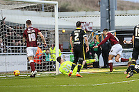 Rod McDonald of Northampton Town (right) scores his team's third goal against Morecambe to make it 3-0 during the Sky Bet League 2 match between Northampton Town and Morecambe at Sixfields Stadium, Northampton, England on 23 January 2016. Photo by David Horn / PRiME Media Images.
