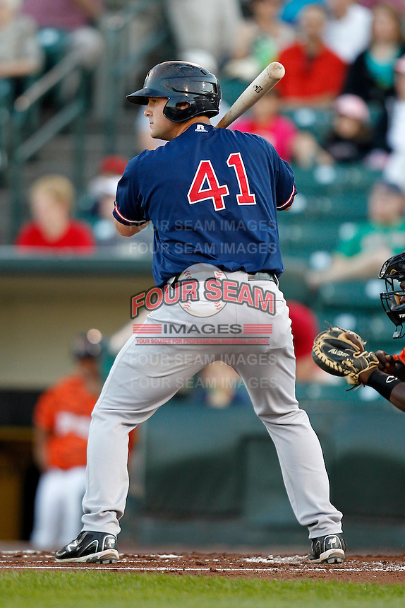 Pawtucket Red Sox catcher Ryan Lavarnway #41 at bat during a game against the Rochester Red Wings at Frontier Field on August 30, 2011 in Rochester, New York.  Rochester defeated Pawtucket 8-6.  (Mike Janes/Four Seam Images)