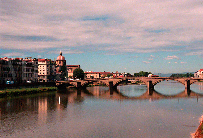 The bridge over The Ponte Vecchio,  a shopping district across the Arno River in Florence, Italy