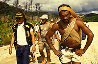 Eviction of independent gold miners by Brazilian Federal Police from Yanomami Indigenous People land, Roraima state, Amazon rainforest, Brazil, 1990.