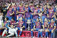 MADRID, ESPANHA, 25 DE MAIO 2012 - FINAL COPA DO REY - BARCELONA X ATHLETIC CLUB -  Jogadores do barcelona comemoram a conquista da Copa do Rey no Estadio San Mames em Madrid capital da Espanha, ontem dia 25. (FOTO: ALVARO HERNANDEZ / ALFAQUI / BRAZIL PHOTO PRESS).