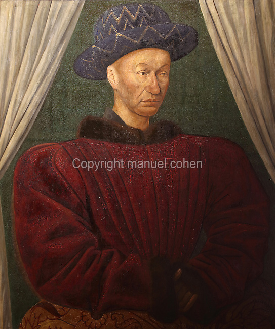 Portrait of King Charles VII of France, 1403-61, by Jean Fouquet, 1420-81, copy of an original in the Musee du Louvre, in the royal lodge of the Chateau de Loches, a medieval castle in the Loire Valley consisting of the old collegiate church of St Ours, royal lodge and keep, at Loches, Indre-et-Loire, Centre, France. The chateau was built in the 9th century and the keep in 1013 by Foulques Nerra, Count of Anjou. It is listed as a historic monument. Picture by Manuel Cohen
